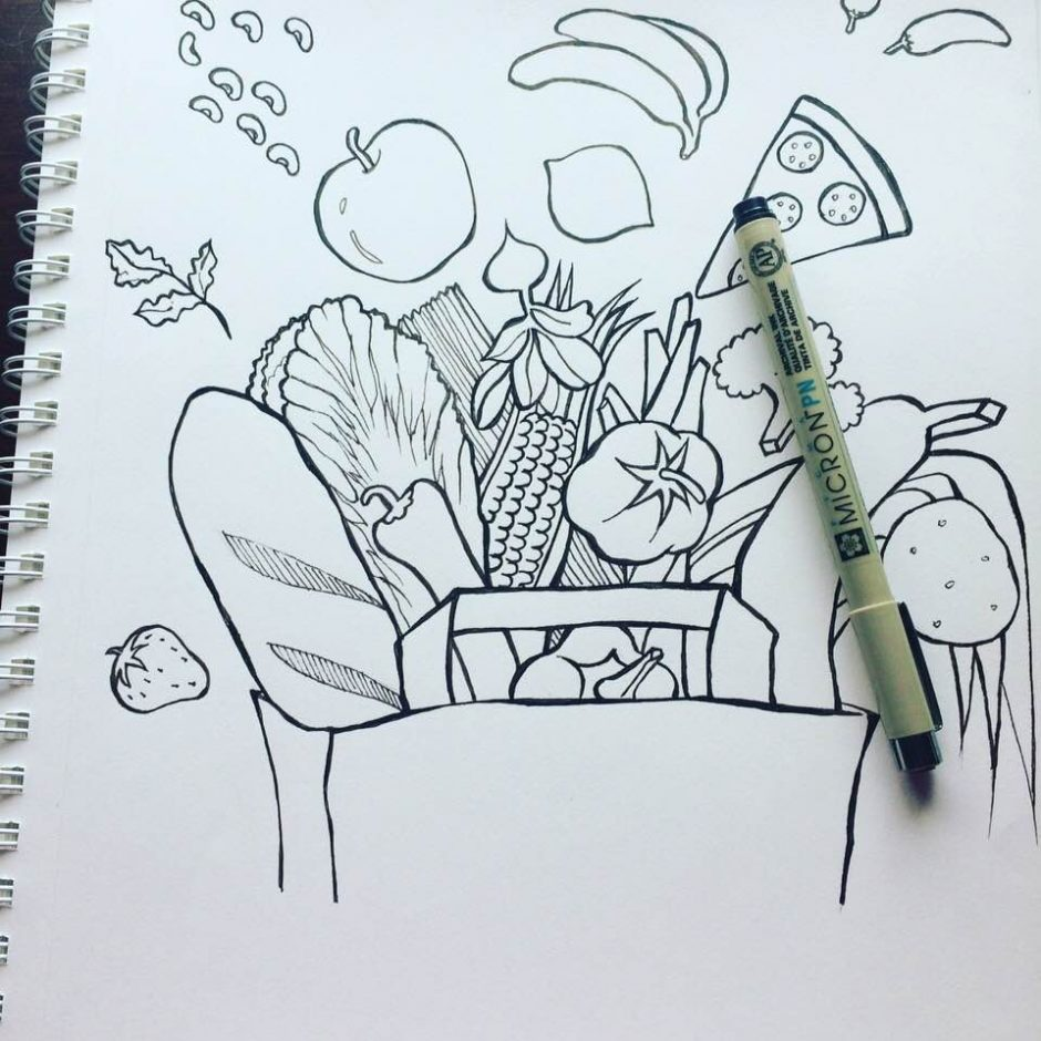 My groceries are flying out of the bag    - SJ doodle Art